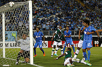 Futbol, O'Higgins vs Deportivo Cali.<br /> SANTIAGO-CHILE -19-02-2014. El jugador de O'Higgins Yerzon Opazo, fuera de la foto, marca su gol contra Deportivo Cali durante el partido de segunda fase, grupo 3 de la Copa Libertadores de America disputado en el estadio Monumental de Santiago, Chile./ O'Higgins player Yerzon Opazo, out of the picture, scores against Deportivo Cali during the second phase, group 3 of the Copa Libertadores championship football match held at Monumental stadium in Santiago, Chile.   Photo: VizzorImage/ Marcelo Hernandez /Photosport