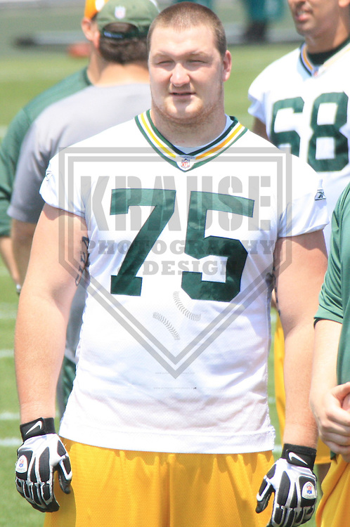 GREEN BAY - JUNE 2010: Bryan Bulaga (75) of the Green Bay Packers during mini-camp on June 22, 2010 at Ray Nitschke Field in Green Bay, Wisconsin. (Photo by Brad Krause)