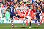 Jelle Vossen of Middlesbrough is penalised for a tackle on Giuseppe Bellusci of Leeds - Middlesbrough vs. Leeds United - Skybet Championship - Riverside Stadium - Middlesbrough - 21/02/2015 Pic Philip Oldham/Sportimage