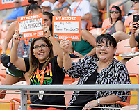 Houston, TX - Saturday May 27, 2017: Houston Dash Fans hold up a card showing their military hero during a regular season National Women's Soccer League (NWSL) match between the Houston Dash and the Seattle Reign FC at BBVA Compass Stadium.