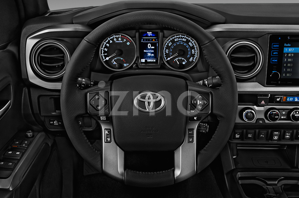 Car pictures of steering wheel view of a 2018 Toyota Tacoma TRD Sport Double Cab 4 Door Pick Up