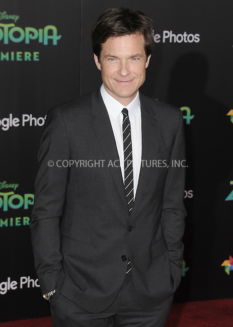 WWW.ACEPIXS.COM<br /> <br /> February 17 2016, LA<br /> <br /> Jason Bateman attending the premiere of Walt Disney Animation Studios' 'Zootopia' at the El Capitan Theatre on February 17, 2016 in Hollywood, California. <br /> <br /> <br /> By Line: Peter West/ACE Pictures<br /> <br /> <br /> ACE Pictures, Inc.<br /> tel: 646 769 0430<br /> Email: info@acepixs.com<br /> www.acepixs.com