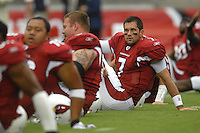 Aug 18, 2007; Glendale, AZ, USA; Arizona Cardinals quarterback Matt Leinart (7) warms up prior to the game against the Houston Texans at University of Phoenix Stadium. Mandatory Credit: Mark J. Rebilas-US PRESSWIRE Copyright © 2007 Mark J. Rebilas