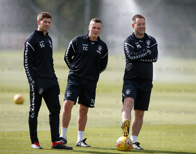 10.08.18 Rangers training: Steven Gerrard with Tom Culshaw and Mick Beale