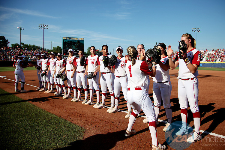 08 JUNE 2016:  The starting lineup for Oklahoma is introduced at the Division I Women's Softball Championship is held at ASA Hall of Fame Stadium in Oklahoma City, OK.  Shane Bevel/NCAA Photos