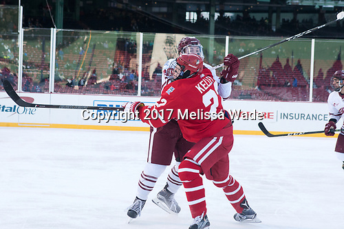Brett Boeing (UMass - 20), Tommy Kelley (BU - 22) - The Boston University Terriers defeated the University of Massachusetts Minutemen 5-3 on Sunday, January 8, 2017, at Fenway Park in Boston, Massachusetts.The Boston University Terriers defeated the University of Massachusetts Minutemen 5-3 on Sunday, January 8, 2017, at Fenway Park.