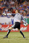 Aug 22 2007:  Jon Busch (1) of the Fire throws an outlet pass.  The MLS Kansas City Wizards defeated the visiting Chicago Fire 3-2 at Arrowhead Stadium in Kansas City, Missouri, in a regular season league soccer match.