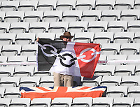 A fan in the stand.<br /> New Zealand Blackcaps v England. 1st day/night test match. Eden Park, Auckland, New Zealand. Day 1, Thursday 22 March 2018. &copy; Copyright Photo: Andrew Cornaga / www.Photosport.nz