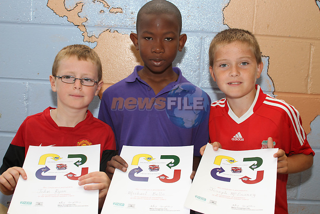 John Ryan, Michael Bello and Joseph McEnaney at the presentation of certificates to students who completed the Literacy Through the Arts Camp at St. Pauls NS...Photo NEWSFILE/Jenny Matthews.(Photo credit should read Jenny Matthews/NEWSFILE)....This Picture has been sent you under the condtions enclosed by:.Newsfile Ltd..The Studio,.Millmount Abbey,.Drogheda,.Co Meath..Ireland..Tel: +353(0)41-9871240.Fax: +353(0)41-9871260.GSM: +353(0)86-2500958.email: pictures@newsfile.ie.www.newsfile.ie.FTP: 193.120.102.198.