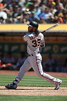 OAKLAND, CA - JULY 22:  Brandon Crawford #35 of the San Francisco Giants bats against the Oakland Athletics during the game at the Oakland Coliseum on Sunday, July 22, 2018 in Oakland, California. (Photo by Brad Mangin)