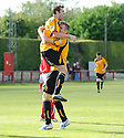 Alloa's Robert Thomson (right) is congratulated after he  scores Alloa's first ...