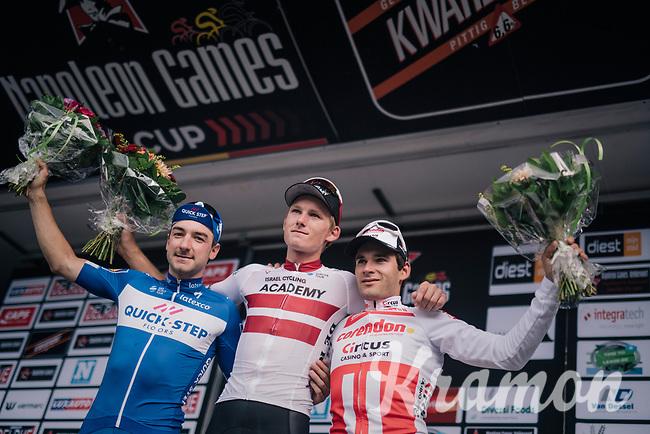 podium:<br /> 1/ Krists Neilands (LAT/Israel Cycling Academy)<br /> 2/ Elia Viviani (ITA/QuickStep Floors)<br /> 3/ Gianni Vermeersch (BEL/Corendon-Circus)<br /> <br /> 3rd Dwars Door Het hageland 2018 (BEL)<br /> 1 day race:  Aarschot > Diest: 198km
