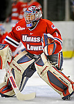 3 February 2008: University of Massachusetts Lowell River Hawks' goaltender Nevin Hamilton, a Sophomore from Ashland, MA, warms up prior to a game against the University of Vermont Catamounts at Gutterson Fieldhouse in Burlington, Vermont. The Catamounts defeated the River Hawks 3-2...Mandatory Photo Credit: Ed Wolfstein Photo