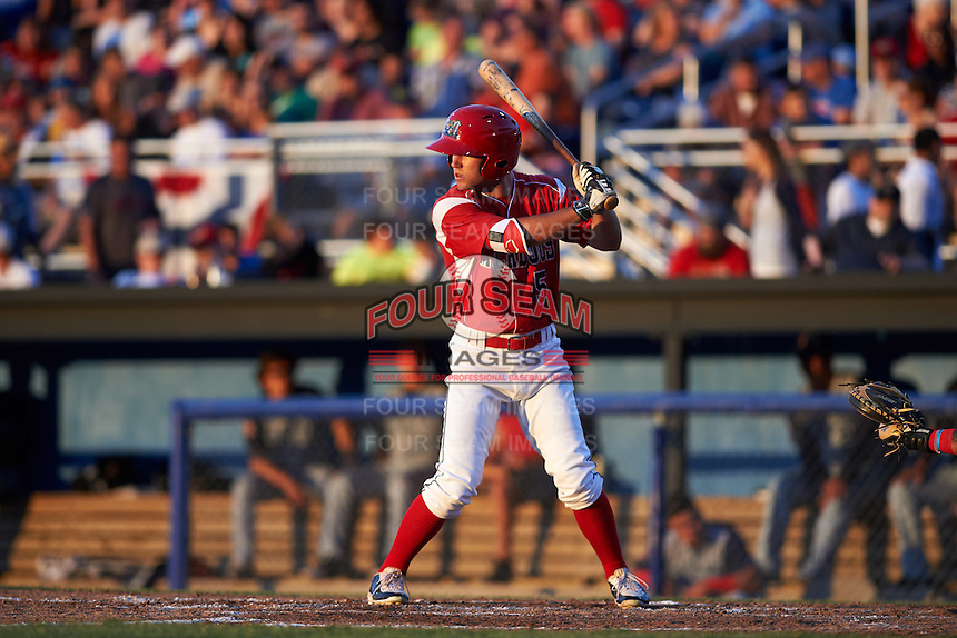 Batavia Muckdogs Aaron Knapp (5) at bat during a game against the Brooklyn Cyclones on July 4, 2016 at Dwyer Stadium in Batavia, New York.  Brooklyn defeated Batavia 5-1.  (Mike Janes/Four Seam Images)
