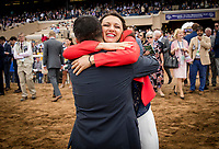 DEL MAR, CA - NOVEMBER 03: Assistant, Cherie DeVaux hugs a groom after winning the Breeders' Cup Juvenile Fillies Turf at Del Mar Thoroughbred Club on November 03, 2017 in Del Mar, California. (Photo by Alex Evers/Eclipse Sportswire/Breeders Cup)