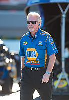 Oct 12, 2018; Concord, NC, USA; Rahn Tobler, crew chief for NHRA funny car driver Ron Capps during qualifying for the Carolina Nationals at zMax Dragway. Mandatory Credit: Mark J. Rebilas-USA TODAY Sports
