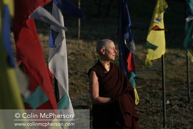Rinchen Khandro, a Buddhist nun who lives at the Samye Ling monastery in south-west Scotland, pictured on her return to the monastery after completing a three year retreat on the Buddhist-owned Holy Island off Scotland's west coast. Rinchen, originally from Manchester, is a former film scriptwriter, fashion designer and ex-girlfriend of George Best. She has been a nun since the early 1990s and this was her first major retreat. Picture shows Rinchen on her arrival back at Samye Ling monastery.