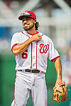 15 June 2016: Washington Nationals third baseman Anthony Rendon warms up prior to a game against the Chicago Cubs at Nationals Park in Washington, DC. The Nationals defeated the Cubs 5-4 in 12 innings to take the rubber match of their 3-game series. Mandatory Credit: Ed Wolfstein Photo *** RAW (NEF) Image File Available ***