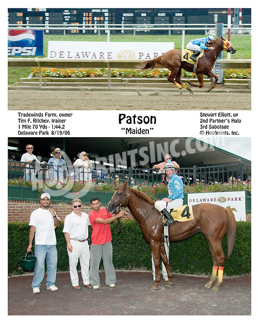 Patson winning at Delaware Park on 8/19/06