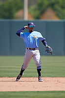 Tampa Bay Rays Osmy Gregorio (43) during a Minor League Spring Training game against the Minnesota Twins on March 15, 2018 at CenturyLink Sports Complex in Fort Myers, Florida.  (Mike Janes/Four Seam Images)