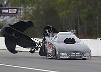 Mar 17, 2019; Gainesville, FL, USA; NHRA funny car driver John Smith during the Gatornationals at Gainesville Raceway. Mandatory Credit: Mark J. Rebilas-USA TODAY Sports