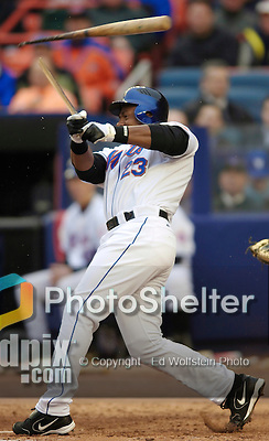3 April 2006: Julio Franco, infielder for the New York Mets, breaks his bat at the plate during Opening Day play against the Washington Nationals at Shea Stadium, in Flushing, New York. The Mets defeated the Nationals 3-2 to lead off the 2006 MLB season...Mandatory Photo Credit: Ed Wolfstein Photo..