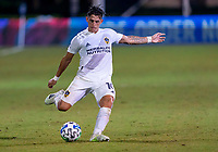 13th July 2020, Orlando, Florida, USA;  Los Angeles Galaxy forward Cristian Pavon (10) takes a shot on goal during the MLS Is Back Tournament between the LA Galaxy versus Portland Timbers on July 13, 2020 at the ESPN Wide World of Sports, Orlando FL.