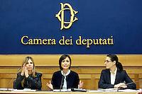 Fabrizia Giuliani , Mara Carfagna ed Irene Tinagli<br /> Roma 10-03-2015 Sala Stampa Camera. Conferenza stampa dal titolo Essere donne ai tempi della crisi contro le discriminazioni sulle donne.<br /> Photo Samantha Zucchi Insidefoto