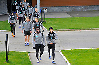Wilfried Bony (left) and Leroy Fer (right) of Swansea City lead the players out to the pitch during the Swansea City Training at The Fairwood Training Ground, in Swansea, Wales, UK. Wednesday 02 November 2018