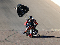 Feb 26, 2016; Chandler, AZ, USA; NHRA top fuel Harley motorcycle rider XXXX during qualifying for the Carquest Nationals at Wild Horse Pass Motorsports Park. Mandatory Credit: Mark J. Rebilas-
