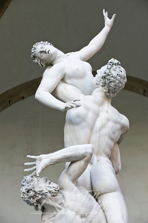 Europe, Italy, Tuscany, Florence, Rape of the Sabine Women statue by Giovanni Bologna at Loggia dei Lanzi