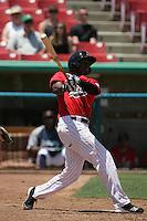 James Jones #27 of the High Desert Mavericks bats against the Visalia Rawhide at Stater Bros. Stadium on May 16, 2012 in Adelanto,California. (Larry Goren/Four Seam Images)