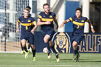 BERKELEY, CA - October 13, 2016: Trevor Haberkorn celebrates scoring a goal with Christian Thierjung (6) and Shinya Kadono (3). Cal played UCLA at Edwards Stadium.