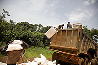 Food aid arrives  at  makpandu  refugee camp. the camp, 44km from Yambio, was set up  to shelter refugees  fleeing LRA attacks in Congo. Difficult terrain, dispersed pockets of refugees and poor roads make the coordination of aid difficult in South Sudan