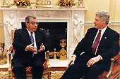 United States President Bill Clinton meets with Foreign Minister Yevgeniy Primakov of Russia in the White House in Washington, DC on March 17, 1997<br /> Mandatory Credit: Barbara Kinney / White House via CNP