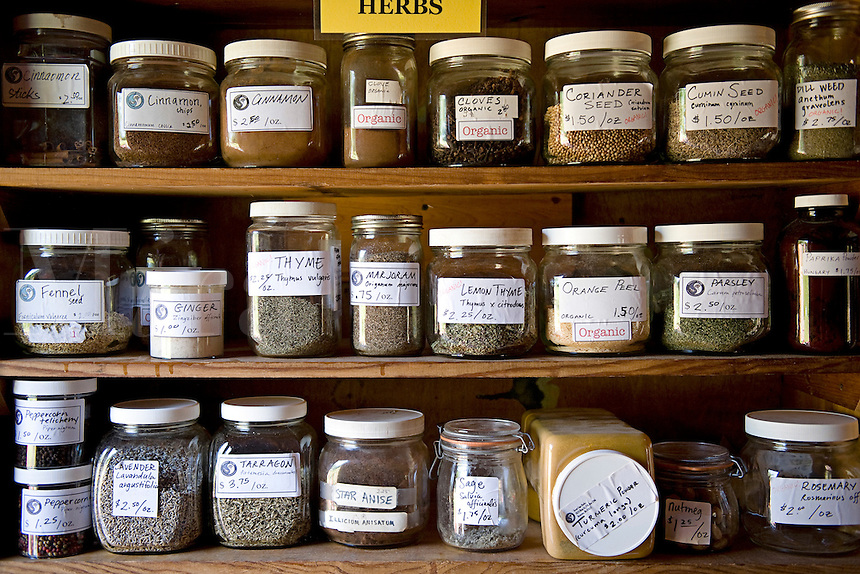 Jars containing herbs in ahelth food store.