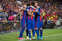 FC Barcelona's forward Neymar Santos Jr, forward Leo Messi and forward Paco Alcacer celebrating a goal during Copa del Rey (King's Cup) Final between Deportivo Alaves and FC Barcelona at Vicente Calderon Stadium in Madrid, May 27, 2017. Spain.<br /> (ALTERPHOTOS/BorjaB.Hojas) /NortePhoto.com