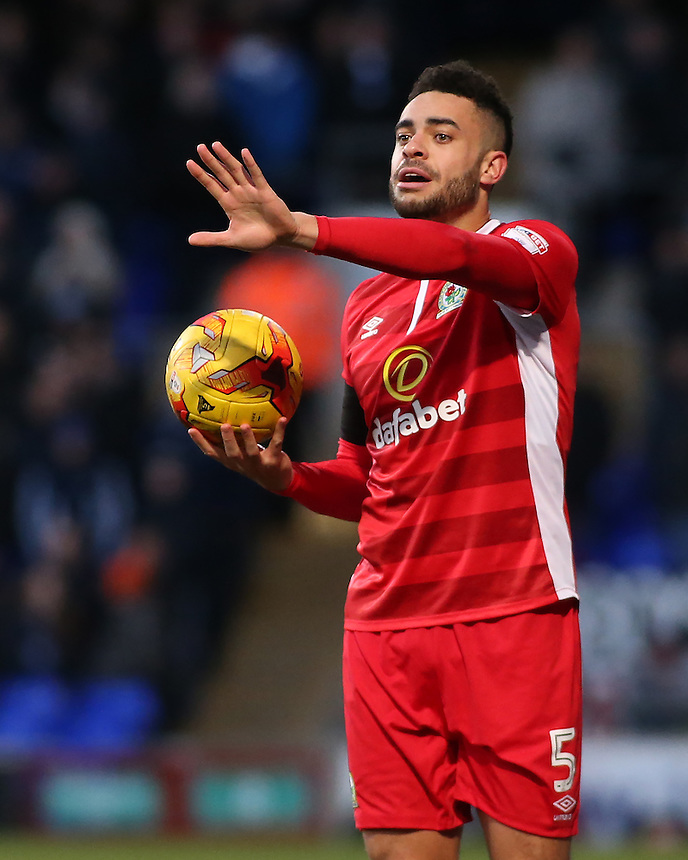 Blackburn Rovers' Derrick Williams prepares to take a throw in<br /> <br /> Photographer David Shipman/CameraSport<br /> <br /> The EFL Sky Bet Championship - Ipswich Town v Blackburn Rovers - Saturday 14th January 2017 - Portman Road - Ipswich<br /> <br /> World Copyright &copy; 2017 CameraSport. All rights reserved. 43 Linden Ave. Countesthorpe. Leicester. England. LE8 5PG - Tel: +44 (0) 116 277 4147 - admin@camerasport.com - www.camerasport.com