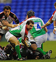 Reading, GREAT BRITAIN, Paul HODGSON moves the ball back, during the third round Heineken Cup game, London Irish vs Ulster Rugby, at the Madejski Stadium, Reading ENGLAND, Sa, t 09.12.2006. [Photo Peter Spurrier/Intersport Images]..