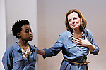 """Guiding Light Orlagh Cassidy and Mirirai Sithole (L)  star in play as The Cell presents Origin Theatre Company with the North American Premiere of """"The Hundred We Are""""  at the dress rehearsal on March 16, 2016 through April 8 at the Cell Theatre on 23rd St, New York City, New York. (Photo by Sue Coflin/Max Photos)"""