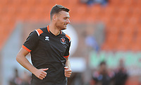 Blackpool's Ryan Edwards during the pre-match warm-up <br /> <br /> Photographer Kevin Barnes/CameraSport<br /> <br /> The Carabao Cup First Round - Blackpool v Macclesfield Town - Tuesday 13th August 2019 - Bloomfield Road - Blackpool<br />  <br /> World Copyright © 2019 CameraSport. All rights reserved. 43 Linden Ave. Countesthorpe. Leicester. England. LE8 5PG - Tel: +44 (0) 116 277 4147 - admin@camerasport.com - www.camerasport.com