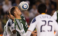 Jack Jewsbury (13) midfielder and captain of the Portland Timbers keeps his eyes on the ball. The LA Galaxy defeated the Portland Timbers 3-0 at Home Depot Center stadium in Carson, California on  April  23, 2011....