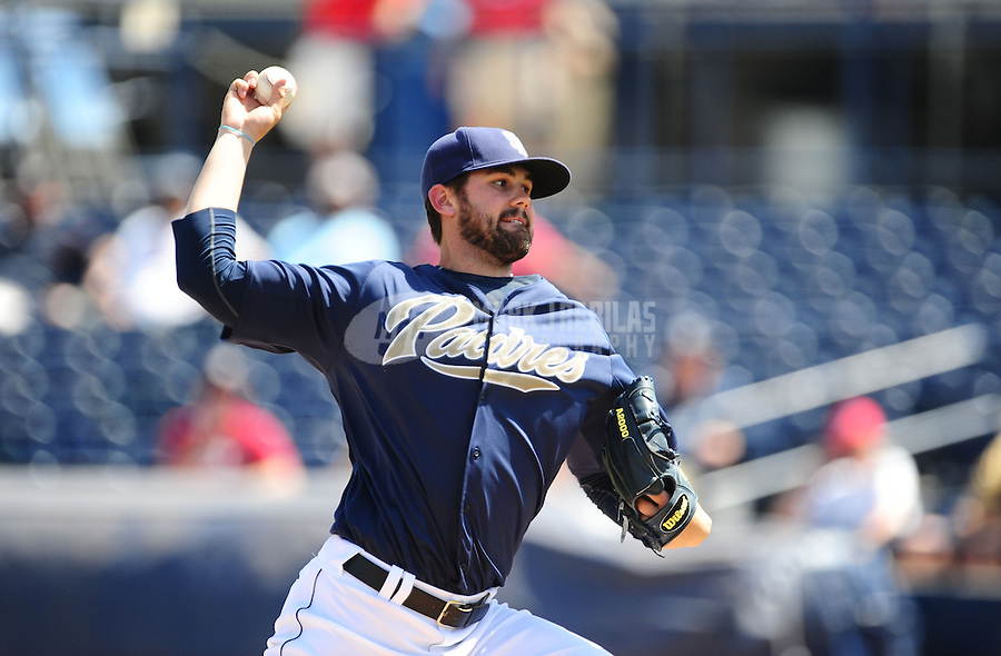 Mar. 27, 2012; Peoria, AZ, USA; San Diego Padres pitcher Casey Kelly pitches in the first inning against the Los Angeles Dodgers at Peoria Stadium.  Mandatory Credit: Mark J. Rebilas-