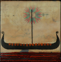 Fine art photography combined with encaustic painting. Viking longboat over antique map with compass rose.