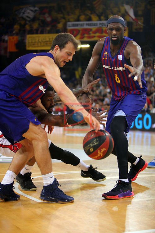 League ACB-ENDESA 201/2019.Game 38.<br /> PlayOff Semifinals.1st match.<br /> FC Barcelona Lassa vs Tecnyconta Zaragoza: 101-59.<br /> Kevin Pangos & Chris Singleton.