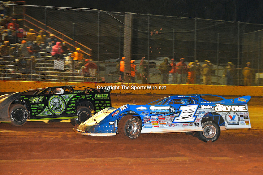 Feb 08, 2014; 10:07:49 PM; Waynesville, GA., USA; The Lucas Oil Late Model Dirt Series running The Georgia Boot Super Bowl of Racing at Golden Isles Speedway.  Mandatory Credit: (thesportswire.net)