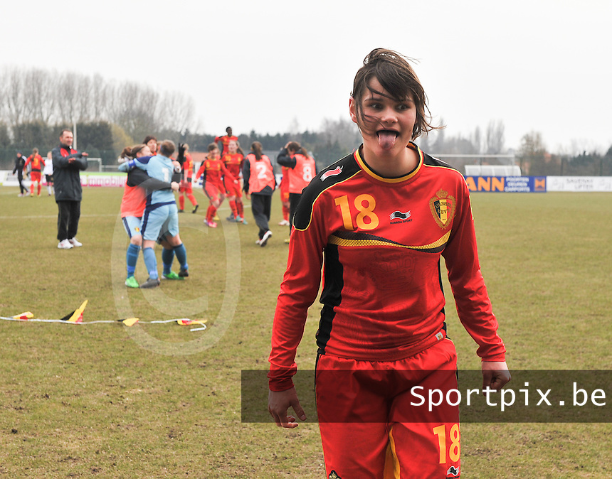 Belgie U17 - Duitsland U17 : Lotte Aertsen .foto DAVID CATRY / Vrouwenteam.be