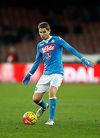 Napoli's Jorginho  controls the ball during the  italian serie a soccer match,between SSC Napoli and Sassuolo    at  the San  Paolo   stadium in Naples  Italy , January 17, 2016
