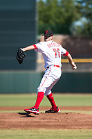 Scottsdale Scorpions starting pitcher Austin Orewiler (75), of the Cincinnati Reds organization, delivers a pitch during an Arizona Fall League game against the Surprise Saguaros at Scottsdale Stadium on October 26, 2018 in Scottsdale, Arizona. Surprise defeated Scottsdale 3-1. (Zachary Lucy/Four Seam Images)