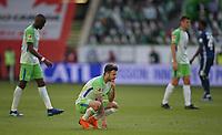 28.04.2018, Football 1. Bundesliga 2017/2018, 32.  match day, VfL Wolfsburg - Hamburger SV, in Volkswagen Arena Wolfsburg. Renato Steffen (Wolfsburg) dejected  *** Local Caption *** © pixathlon<br /> <br /> +++ NED out !!! +++<br /> Contact: +49-40-22 63 02 60 , info@pixathlon.de
